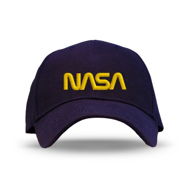 Nasa Worm Logo Embroidered Baseball Cap, Navy