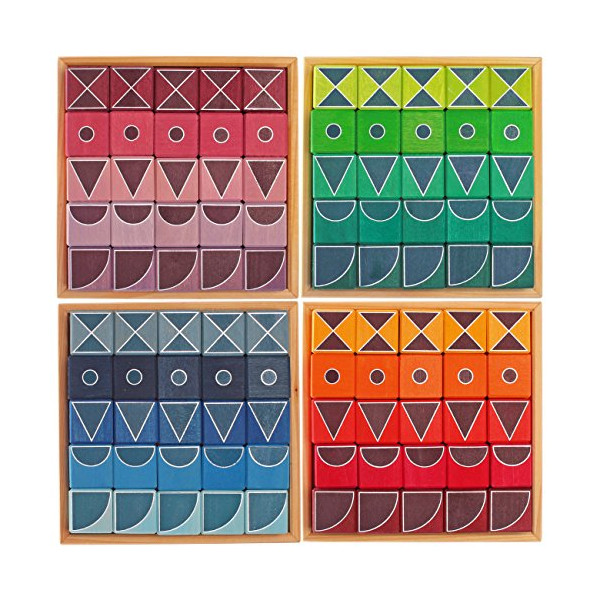 Grimm's Complete Set of Large Geo-Graphical Building Blocks Puzzles, 100 Pieces in 4 Boxes (4x4 Size)