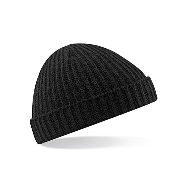 Beechfield Unisex Retro Trawler Winter Beanie Hat, Black