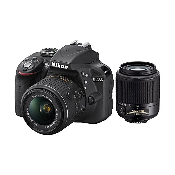 Nikon D3300 24.2 MP CMOS Digital SLR with AF-S DX NIKKOR 18-55mm f/3.5-5.6G VR II Zoom Lens andAF-S DX NIKKOR 55-200mm f/4-5.6G ED VR II Lens - (Certified Refurbished)
