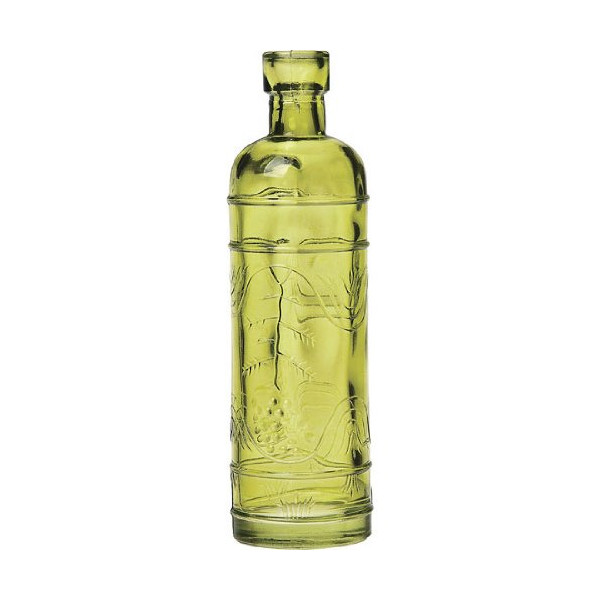 Luna Bazaar Small Chartreuse Green Vintage Glass Bottle (bulb design) .