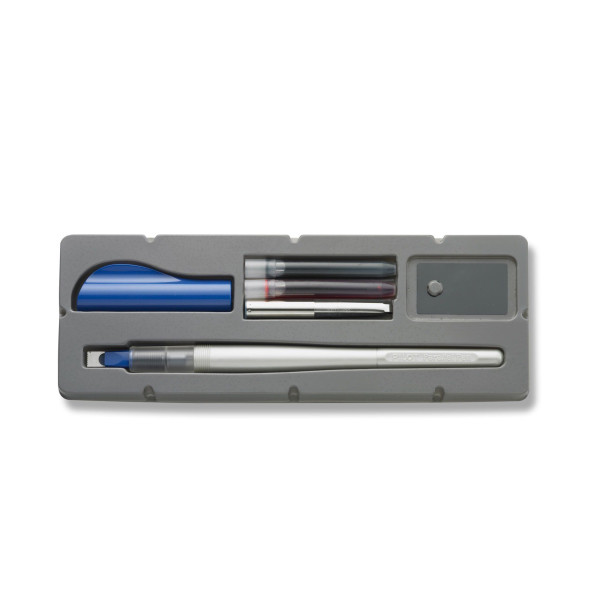 Pilot Parallel Beginner Calligraphy Fountain Pen, 6.0mm Nib, Blue Cap