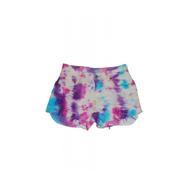 Janice Tie Dye Pink White Blue Cut Off Short High Waisted Shorts Vintage-L