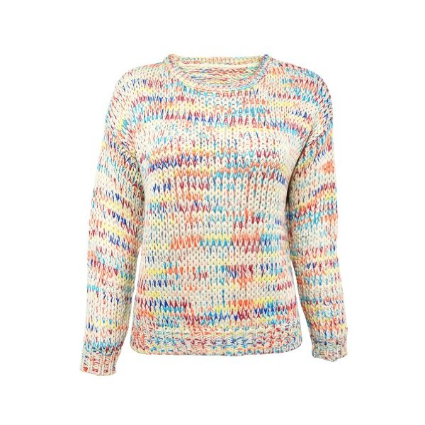 ZLYC Rainbow Drops Multi Colored Chunky Knitted Jumper for Girls (beige)