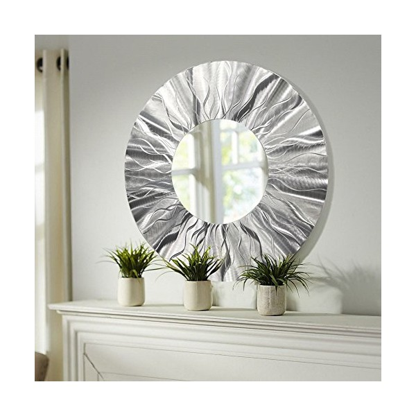 Large Round Silver Modern Metal Wall Art - Contemporary Wall Mirror - Home Accent Decor Sculpture by Jon Allen - Mirror 105