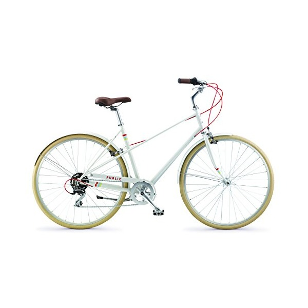PUBLIC Bikes M7 French-Style Step-Through Design Mixte City Bike, Cream, Small-Medium/18""