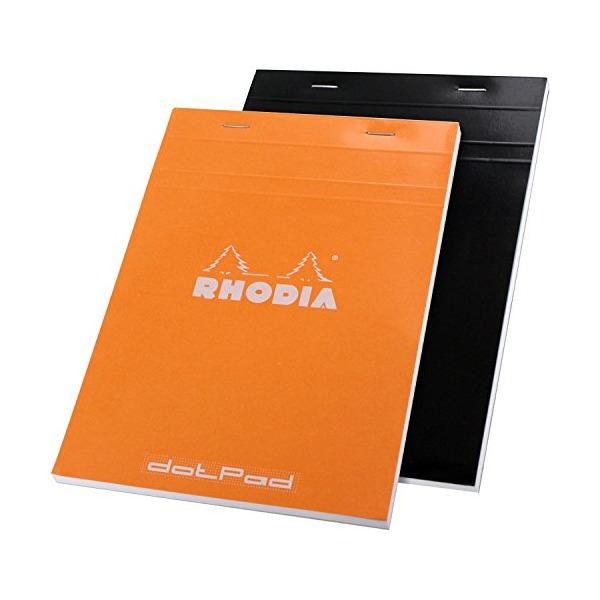 Rhodia No.16 A5 6 x 8 1/4 80 Sheet, Dot Pad, Orange & Black