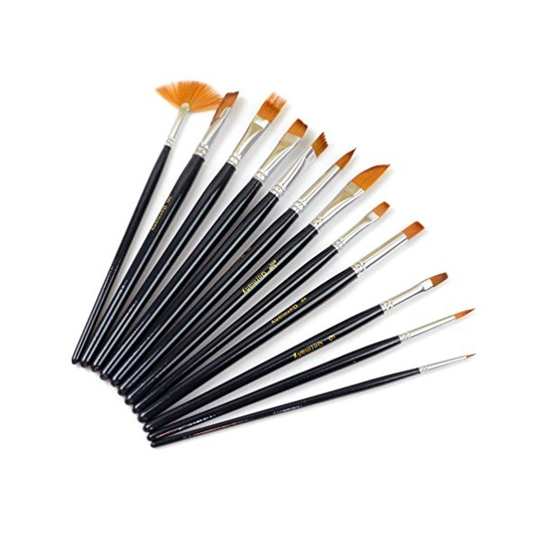 Outop 12pcs Nylon Hair Paint Brush Set Artist Watercolor Acrylic Oil Painting Supplies
