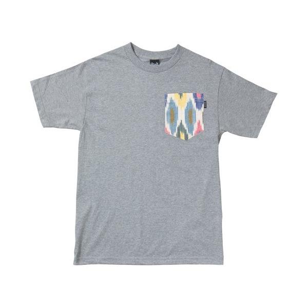 Quiet Life: Ikat Bright Pocket T Shirt - Heather Grey (Large, Heather Grey)