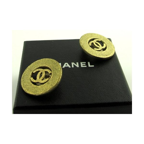 Vintage Chanel Matt Gold Double C Earrings 1994