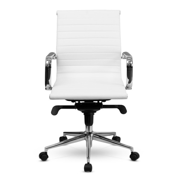 Flash Furniture Mid-Back White Ribbed Upholstered Leather Conference Chair