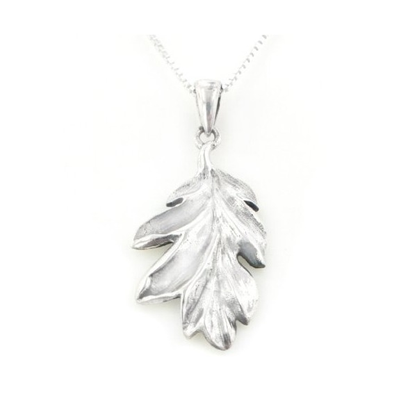 "Secrets of the Wood Sterling Silver Oak Leaf Pendant with 18"" Box Chain Necklace"