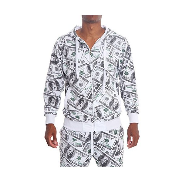 Victorious Money Print Zip Up Hoodie JK505 - WHITE - Large - G9C