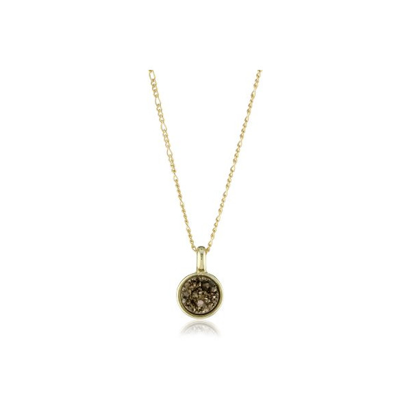 "Marcia Moran ""Chocolate"" 18k Gold-Plated Bronze Druzy Small Circle Pendant Necklace, 16"""