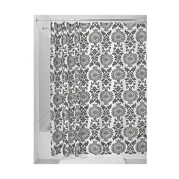 "InterDesign Damask Shower Curtain, Long/72 x 84"", Charcoal"
