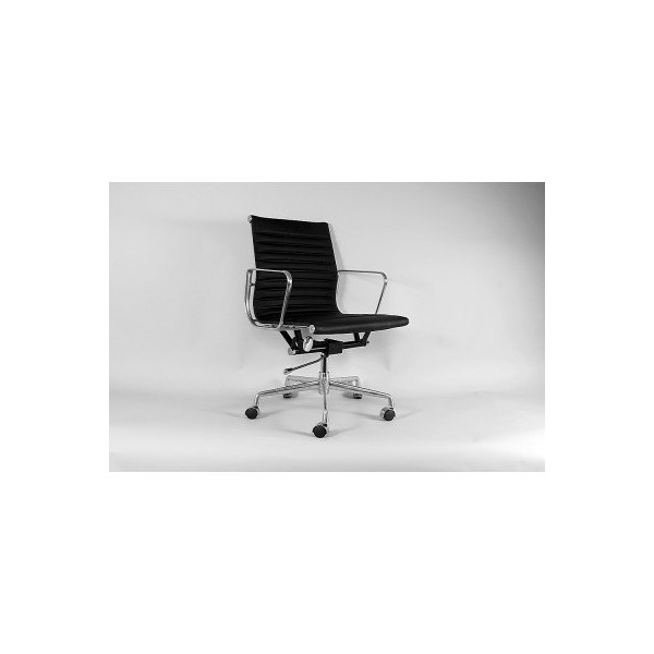 Control Brand Mid-Century Genuine Leather Executive Office Chair, Black