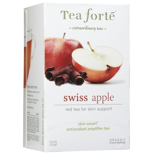 Tea Forte, Red Tea for Skin Support, Swiss Apple, 16-Count