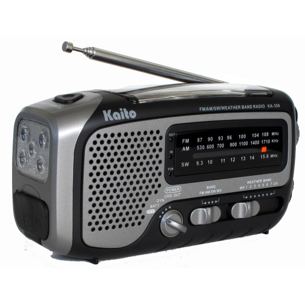 Kaito KA350GY Voyager Trek Solar/Crank AM/FM/SW NOAA Weather Radio with 5-LED Flashlight, Gray