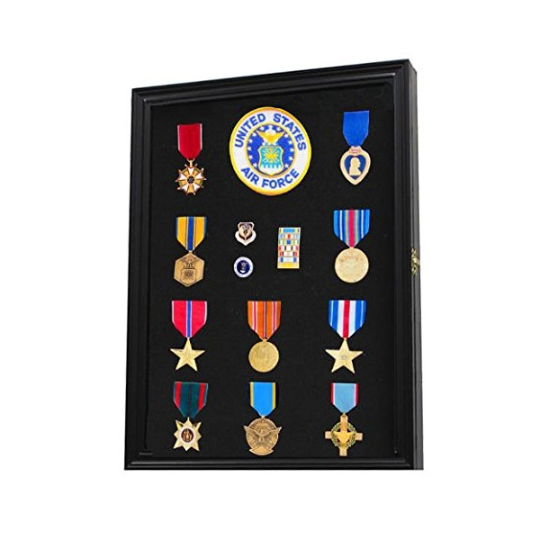 Military Medals, Pins, Patches, Insignia, Ribbons, Flag Display Case Cabinet PC01-BLA