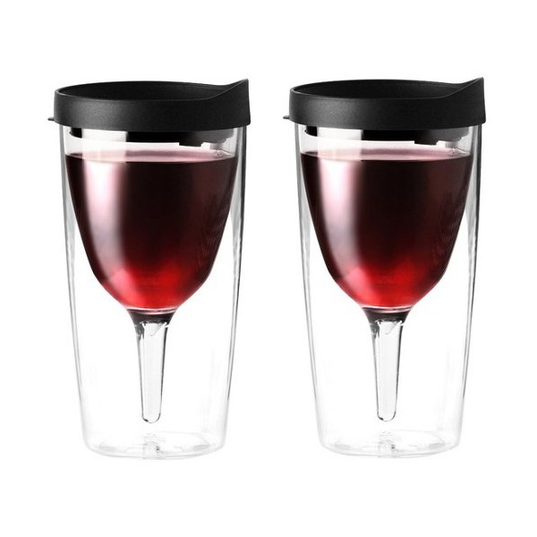 Vino2Go Insulated 10 Ounce Wine Tumbler With Drink Through Lid, Set of 2