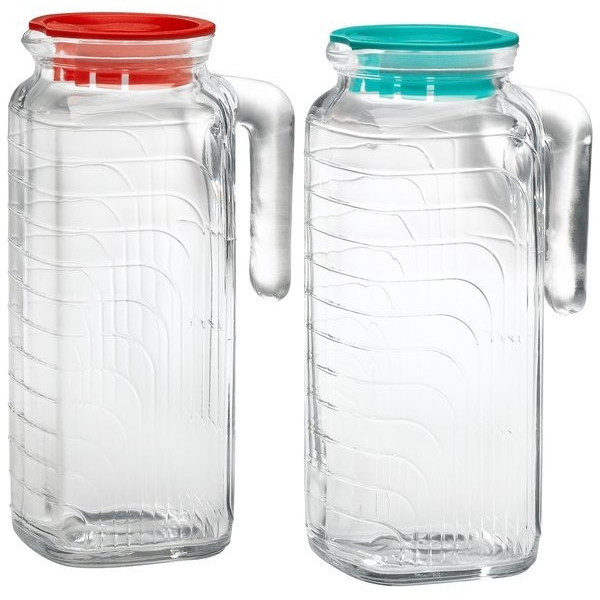 Bormioli Rocco Gelo 2-Piece Glass Pitcher Set with Lids