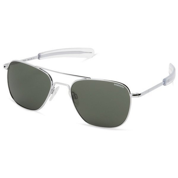 Randolph Aviator Square Sunglasses, Bright Chrome