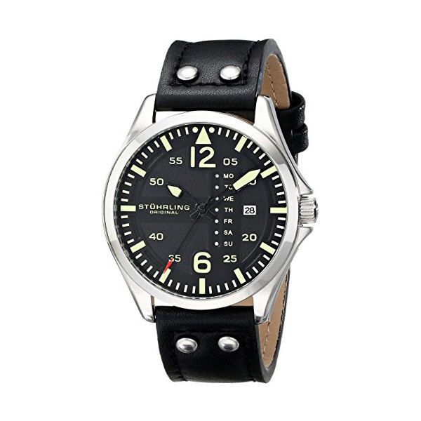 "Stuhrling Original Men's 699.01 ""Aviator"" Stainless Steel Watch with Black Leather Band"