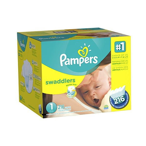 Pampers Economy Pack Plus Swaddlers Diapers, Size 1, 216 Count