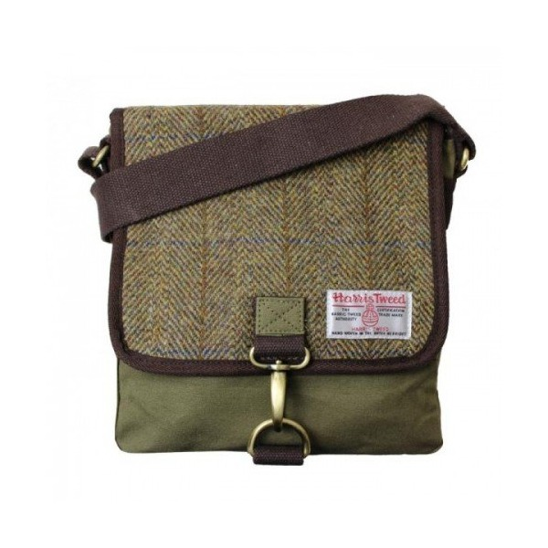 Harris Tweed Mens Authentic Premium Khaki Messenger Bag (Small) (Khaki Green (Blue Stripe))