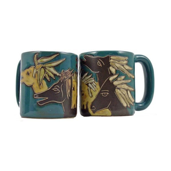 Set of 2 MARA STONEWARE COLLECTION - 16 Oz. Ceramic Coffee/Tea Cup Collectible Dinner Mugs - Mexican Pottery Horse Design