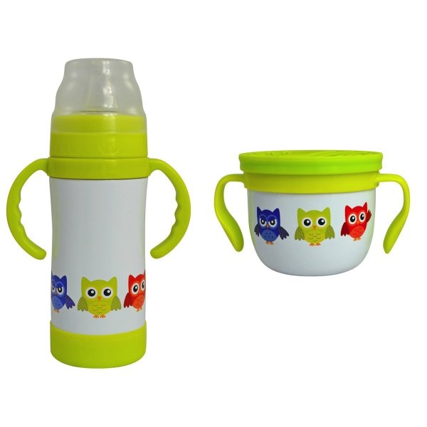 Insulated Stainless Steel Sippy Cup and Gobble n Go Snack Cup Set (White Owl)