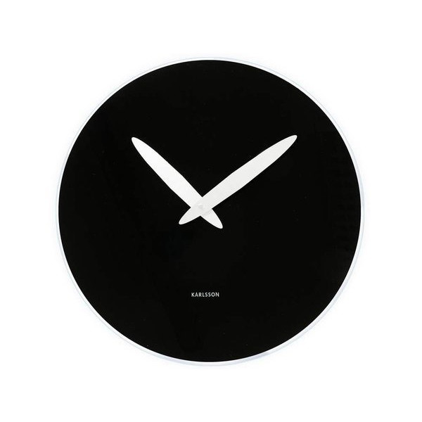 Present Time Karlsson Bold Hand Wall Clock, Black Glass