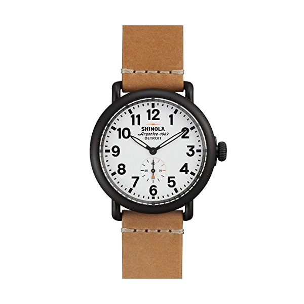 Shinola The Runwell White Dial Natural Aniline Latigo Leather Mens Watch 11000171