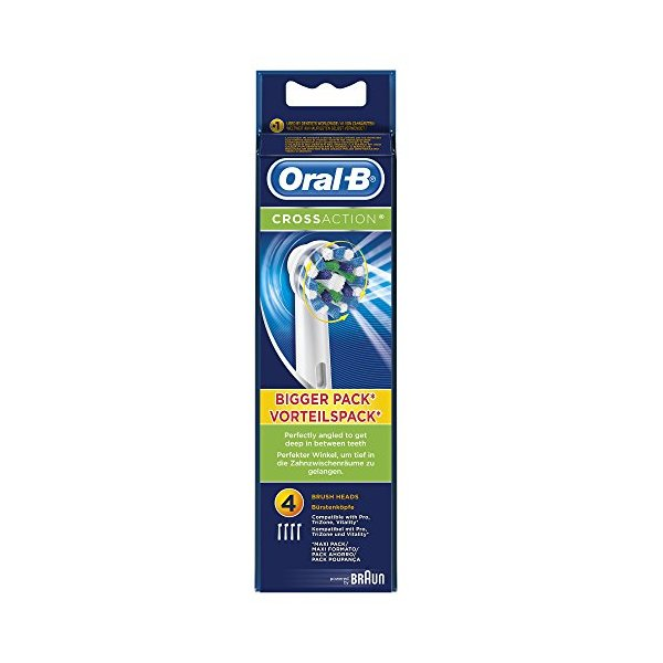 Oral-B Braun CrossAction Replacement Rechargeable Toothbrush Heads - (Pack of 4 Refills)