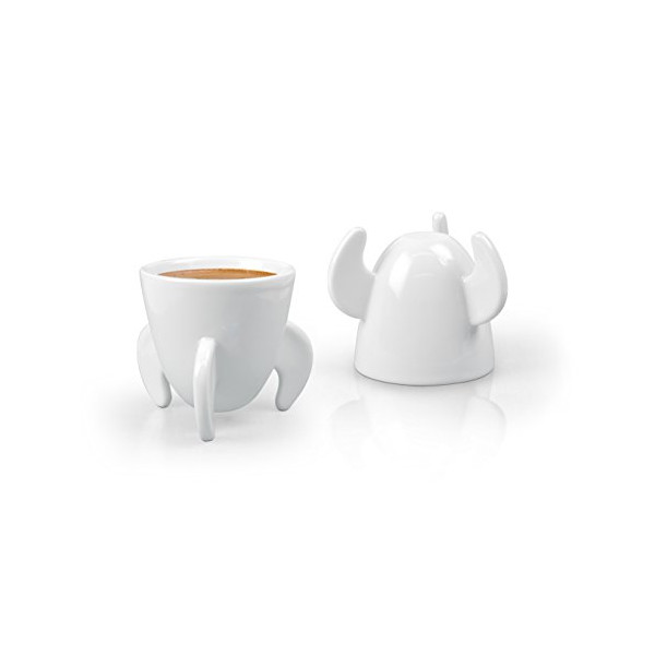 Fred Blast Off Espresso Cups, White, Set of 2