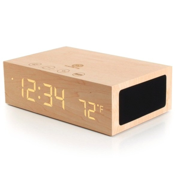 GOgroove Bluetooth Wireless Stereo Speaker & Wooden Alarm Clock