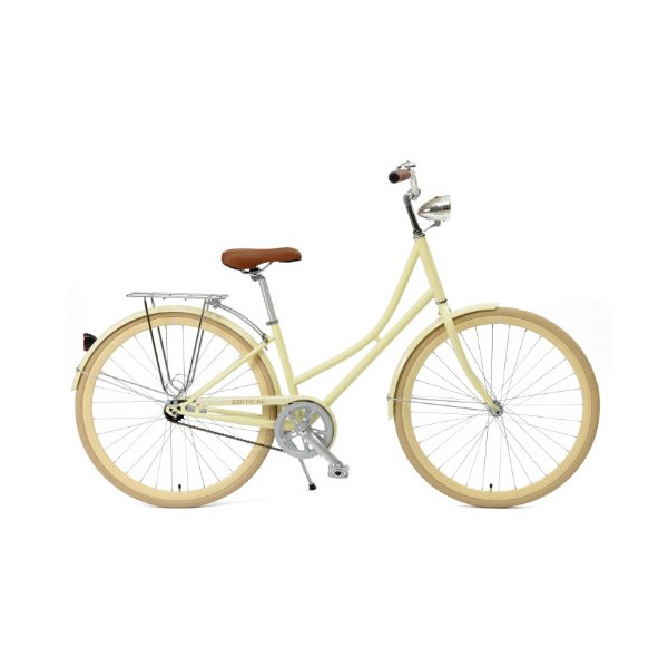 Critical Cycles Dutch Style Step-Thru 1-Speed Hybrid Urban Commuter Road Bicycle, Cream, Large/44cm