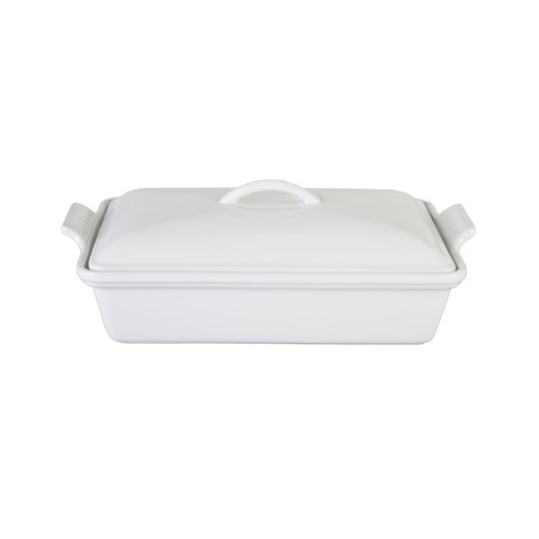 Le Creuset Heritage Stoneware 12-by-9-Inch Covered Rectangular Dish, White