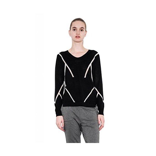 Chloe Light Black V-Neck Pullover Lurex Detail Hi Lo Sweater One Grey Day-L