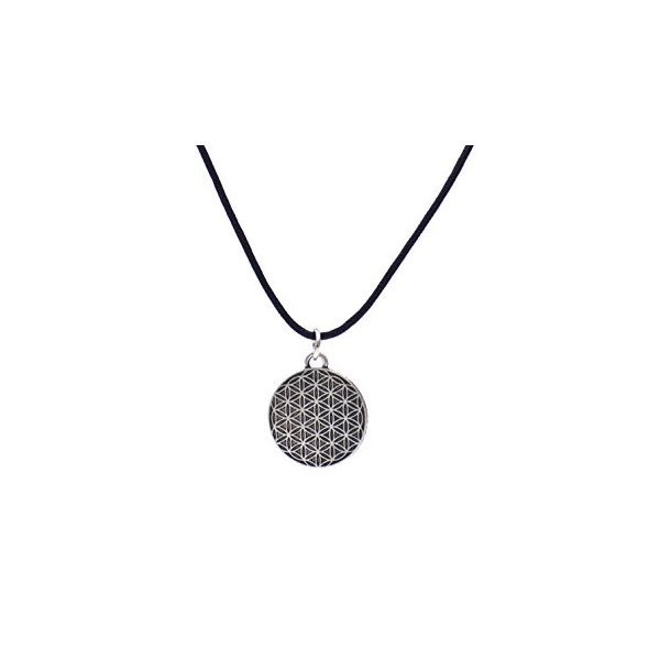 "Flower of Life Pattern Charm Alloy Metal 1.2"" with Adjustable Wax Cord"