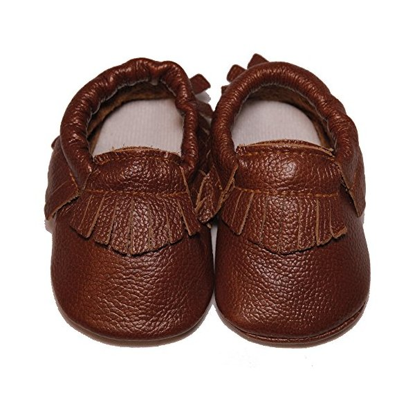 Baby Conda Unisex Light Brown Handmade Soft Sole Leather Slip on Shoes Baby Moccasins Size 6 - 12 Months