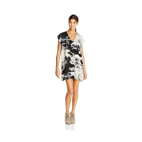 BB Dakota Women's Tamzine Cloud Printed Dress with Slip, Black, Medium