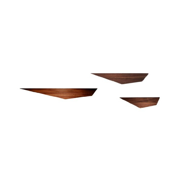 David Hsu Design Peliship Floating Shelves, Walnut, Set of 3