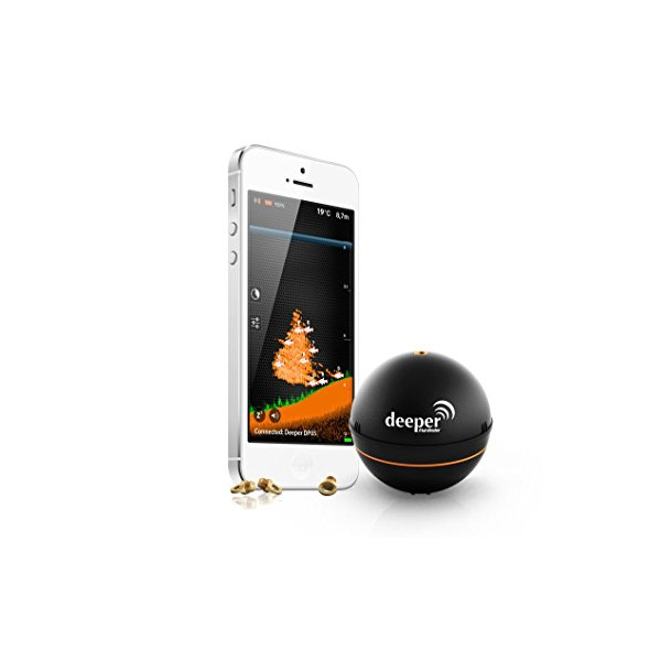 Deeper Smart Portable Fish Finder for Smartphone or Tablet, Black