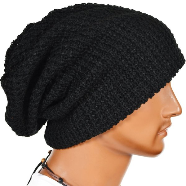 Mens Slouchy Long Beanie Knit Cap for Summer Winter Oversize (Black)