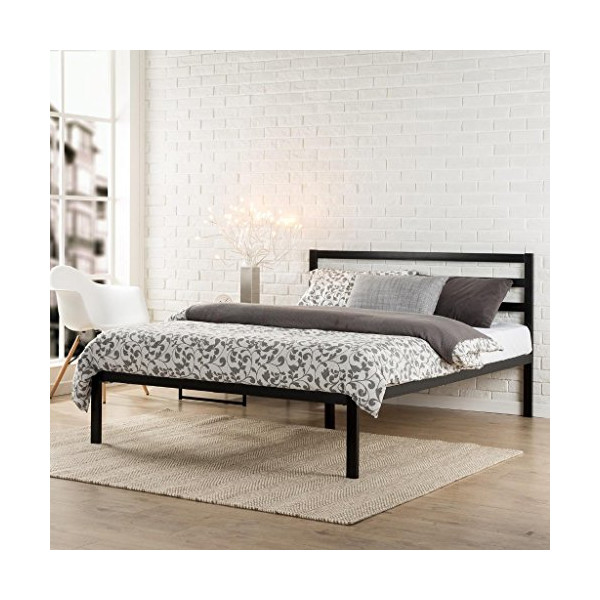 Zinus Modern Studio Platform 1500H Metal Bed Frame/Mattress Foundation with Headboard, Queen