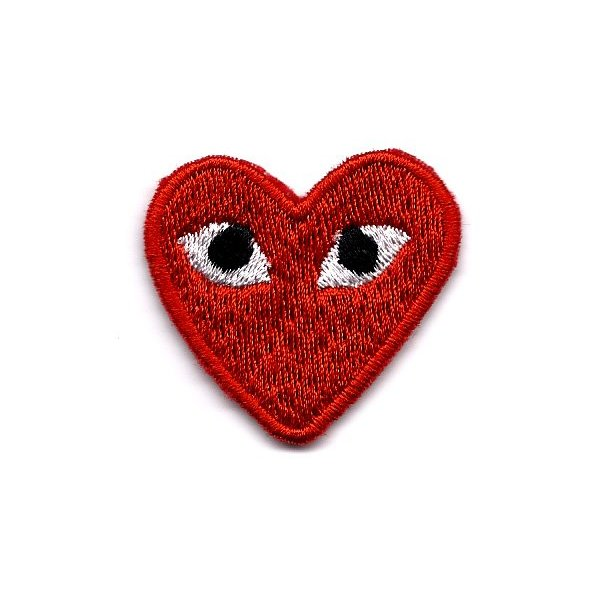 """PLAY"" COMME des GARCONS Red Heart Eyes Embroidered Iron On / Sew On Patch"