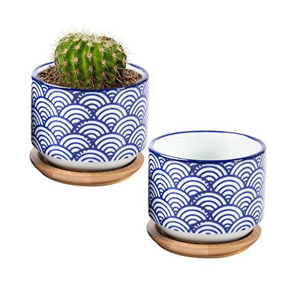 3 inch Japanese Style Wave Ceramic Succulent Planter Pots with Bamboo Drip Tray, Set of 2, White & Blue