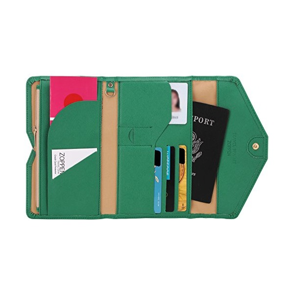 Zoppen Mulit-purpose Rfid Blocking Travel Passport Wallet (Ver.4) Trifold Document Organizer Holder, Forest Green