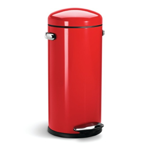 simplehuman Round Retro Step Trash Can, Red Steel, 30-Liter